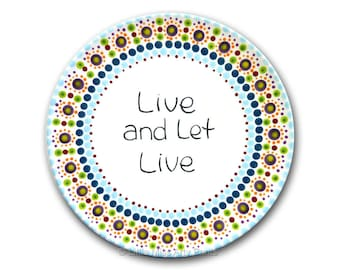 """Live and Let Live - AA/Al-Anon Recovery Mandala Plate - 8"""" plate"""
