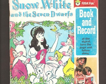 Snow White and the Seven Dwarfs - Vintage 45 RPM Peter Pan Read-Along LP Book and Record Set #1941