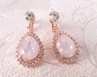 Blush Rose Vintage Glam Pierced or ClipOn Drop Earrings with Opal Light Pink Swarovski Crystal Art Deco Bridesmaid Wedding Bridal Jewelry