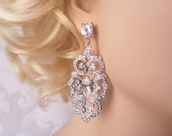 Victorian Bridal Pierced or Clipon Earrings with Swarovski Crystal for 1920s Wedding Chandeliers or Vintage Prom Jewelry