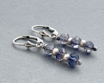 Blue Iolite Gemstone Earrings, Sterling Silver, Faceted Iolite Earrings, Stacked Gemstones, Ethnic Silver Beads, Lever Back Ear Wires, #4639