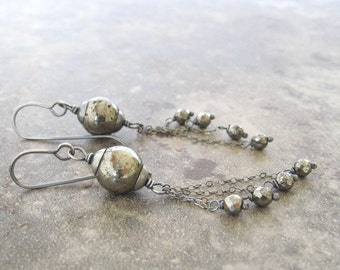 long pyrite and silver earrings, pyrite drop earrings, oxidized silver dangle earrings, boho drop earrings, wire wrap earrings