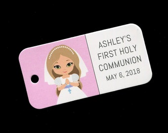 First Communion Favor Tags - Personalized - Girl - Gift Tags - Personalized Favor Tags - Girls Communion Tags - Pink - Light Brown Hair