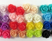 BOGO 32 Rose Flower Cabochon Beads Resin Bead 10mm Assortment - No Holes - 32 pc - CA2006-AS32 - Buy 1, Get 1 Free - No coupon required