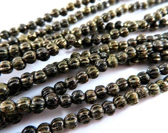 50 Melon Czech 3mm Jet Bronze Opaque Ribbed Round Black Glass Picasso Beads 1mm hole - 50 pc - G6088-JBP50