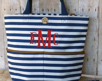 Personalized Diaper Bag Navy Blue Stripe Monogrammed