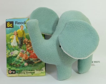 Sage Green Elephant Plush, Handmade Fleece Small Soft Toy, Simple and Sweet Little Plush Toy Elephant