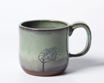 Green Blue Purple Windy Tree Mug