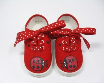 Baby's Ladybug Shoes, Hand Painted Red Sneakers for Babies, Size Three