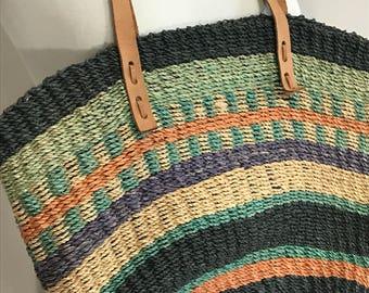 Vintage woven shoulder bag, Leather strap woven bag,  Summer hemp basket tote, Multi colored woven basket bag