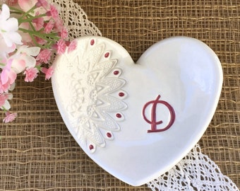 Heart Shaped Gift Dish with Lace Imprint,  Bridesmaids Gifts, Ring Dish, Jewelry Dish, Ring Bowl, Favor for Bridesmaids, Wedding Party Gifts
