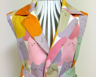 Vest Coat / Long Vest / Maxi Vest / Sleeveless Coat / Gilet --- Colorful Cat