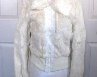 white fur jacket  . rabbit fur jacket . 70s bomber jacket . fur bomber jacket . white fur bomber jacket . British Colony of Hong Kong
