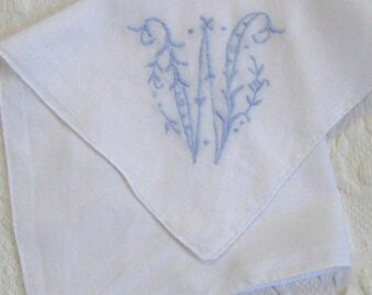 "hankie . batiste hankie . monogram ""W"" . ""W"" hankie . blue embroidered monogram"