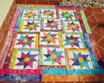 Unfinished Quilt top-Batik quilt top-Unfinished baby quilt top,quilt top,block,batik lap quilt,bright colored batik top,Batik Star Sensation