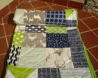 Handmade Baby quilt, Baby boy bedding quilt, toddler Crib quilt, navy blue lime green grey, chevron, deer, arrow, woodland stag Buck Forest2