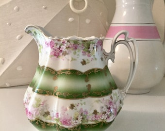 German Pink Rose Chocolate or Cream Pitcher M Z Austria Large Floral Vase with Deep Green