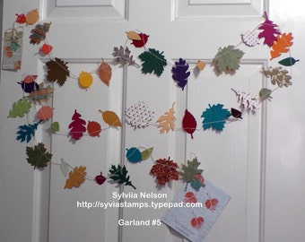 New Fall Leaf Garland 5...9 Ft of Leaves and Acorns..Fall photo prop..removeable gift tag...Thanksgiving...fall decor...fabulous colors