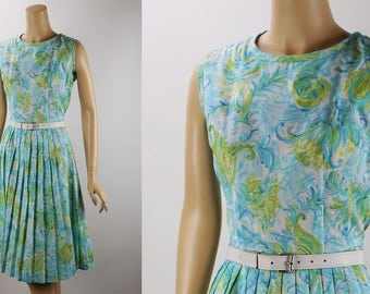 Vintage 1960s Dress Pale Blue and Green Floral Summer by Cay Artley B36 W26