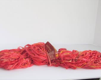 Giotto, ribbon yarn, Fire 71, Colinette yarn, pink coral yellow, cotton, rayon, C, destash new