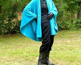 Turquoise Anti Pill Fleece Cape, Wrap, Poncho, Ruana, Serape or Shawl-- One Size Fits Many
