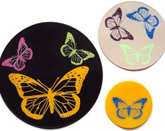 Three Piece Silicone Butterfly Table Placemat Kitchen Hot Pad Table Trivet Office Coasters