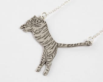 Tiger Necklace - Tiger Jewelry - Animal Necklace - Silver Tiger - Leaping Tiger - Detroit Necklace - Tiger Jewelry Totem - Tiger Pendant