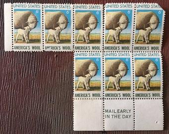 Block of 8 Unused AMERICA'S WOOL Postage Stamps US 6 Cent 1971