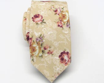 Cotton Mens Tie. Cotton Beige Red Purple Floral Skinny Tie With Matching Pocket Square Option