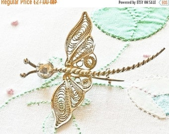 NOW  ON SALE Vintage Silver Filigree Dragonfly Brooch / Pin, Maltese Silver 925,Dainty Spring Jewelry