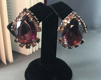 Ravishing Vintage Plum Purple Tear Drop Rhinestone Clip On Earrings