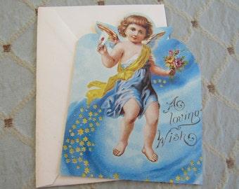 Unused Current Vintage Victorian Inspired CHERUB Loving Wish Valentine Greeting Note Card Blank Inside Cupid Heart Love Sweetheart Friend
