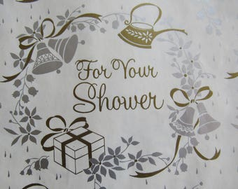 Unused Vintage Wedding Bridal Shower Gift Wrapping Paper 1 Sheet Silver Gold White Flowers Ribbons Packages Teapot Lilies of the Valley