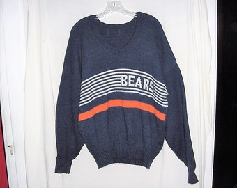 Vintage 80s Chicago Bears Knit Sweater XL Long Sleeve Pullover Acrylic Knit