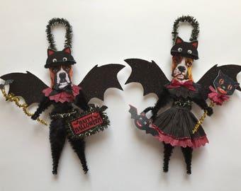 Boxer Dog BAT Halloween ornaments DOG ornaments vintage style chenille ORNAMENTS set of 2