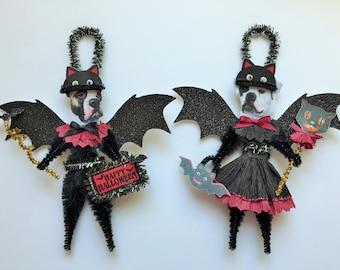 American Bulldog BAT Halloween ornaments DOG ornaments vintage style chenille ORNAMENTS set of 2
