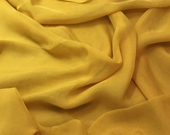 Hand Dyed HONEY MUSTARD YELLOW Soft Silk Organza Fabric - 1/3 yard remnant
