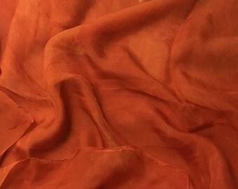 Hand Dyed TANGERINE ORANGE Soft Silk Organza Fabric - 1/3 yard remnant