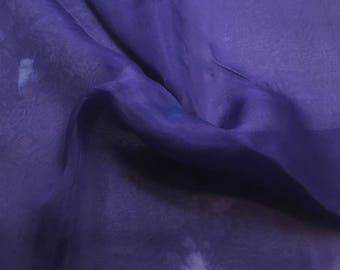 Hand Dyed HYACINTH Silk Organza Fabric - 1 Yard