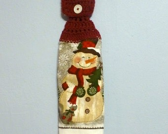 Uncut Crochet Button Top Hanging Kitchen Towel Double Layered Snowman Holiday Winter