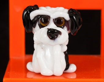 Black and White Lampwork Dog Bead