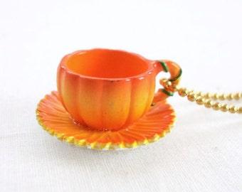 Ginger - pumpkin teacup necklace - marigold flower necklace - orange teacup necklace - tea cup necklace - tea jewelry