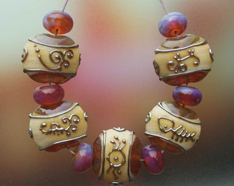 Red Sea - Handmade Lampwork Glass Beads Set (SRA)