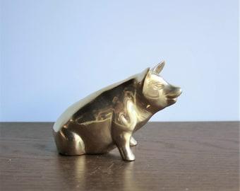 Vintage brass pig