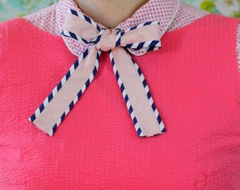 Striped pussy bow // blush and navy bow tie for women // xoelle lady tie