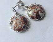 Japanese porcelain Desert Flower post earrings. European style sterling silver post earrings.Floral paisley earrings.