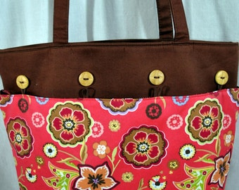 Vintage Longaberger Cloth Purse - Flowers - Button Adornments with Side Pockets