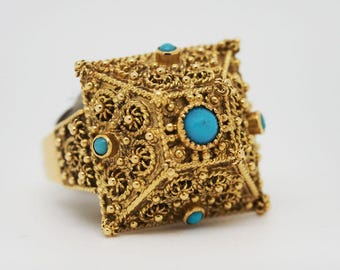 22KT Byzantine Ring with Turquoise Accents