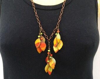 Leaf Cluster Necklace Earring Set