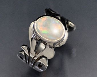 Sterling Silver Swirl Ring with Australian Opal Cab Ring